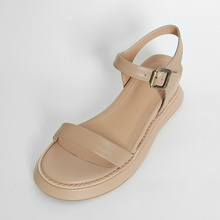 soft breathable flat apricot genuine leather TPR ladies sandal chappal