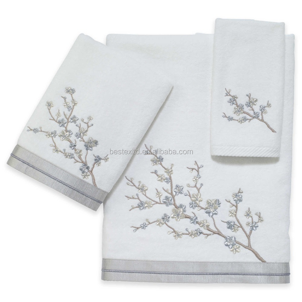 100% cotton 6-pieces embroidering flowers wedding and party pictures office towel set for ladies
