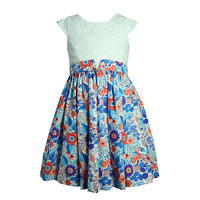 3-5 year old girl daily wear digital print dress design with lace fabric