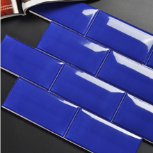 best selling small standard size colorful wall decoration tile blue beveled shiny polished glazed subway ceramic wall tiles