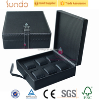 6pcs black PU leather box watch case for sale