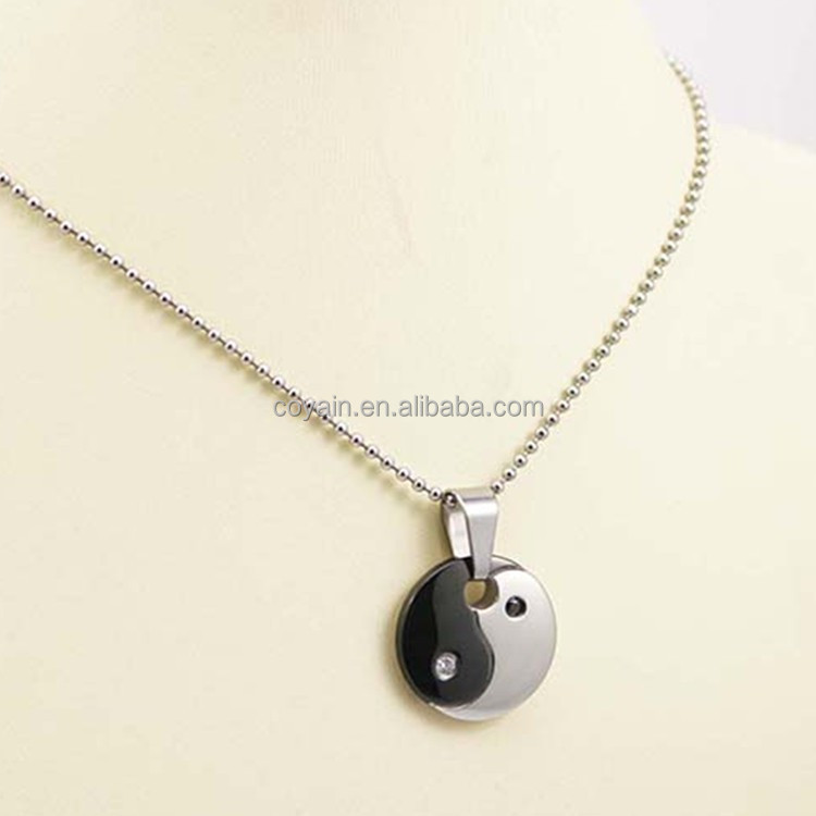 Black Silver Two Tone Round Stainless Steel Yin Yang Necklace With Diamond