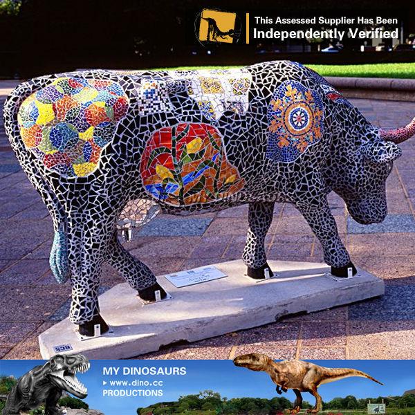 Meine Dino Fancy Dekoration Lebensgro E Kuh Statue F R