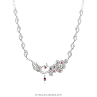 Jewelry Wholesale Jewelry Peacock Necklace Jewellery Set Sterling Silver Necklace Designs SNG397W