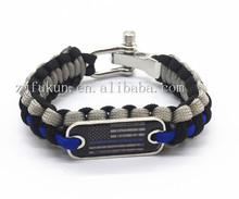 thin blue line outdoor sports paracord bracelets with USA flag logo metal brand logo available paracord bracelet