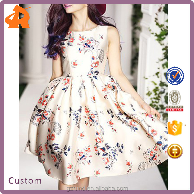 Hot Sale Alibaba High Fashion Design Chic Lady Dress OEM, Vintage Round Collar Floral Print Sleeveless Dress For Elegant Women