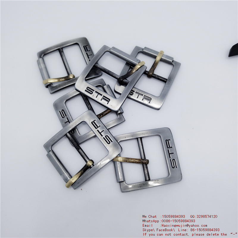 Private high end custom brass solid type Mouth word buckle fashion Pin type man belt buckle