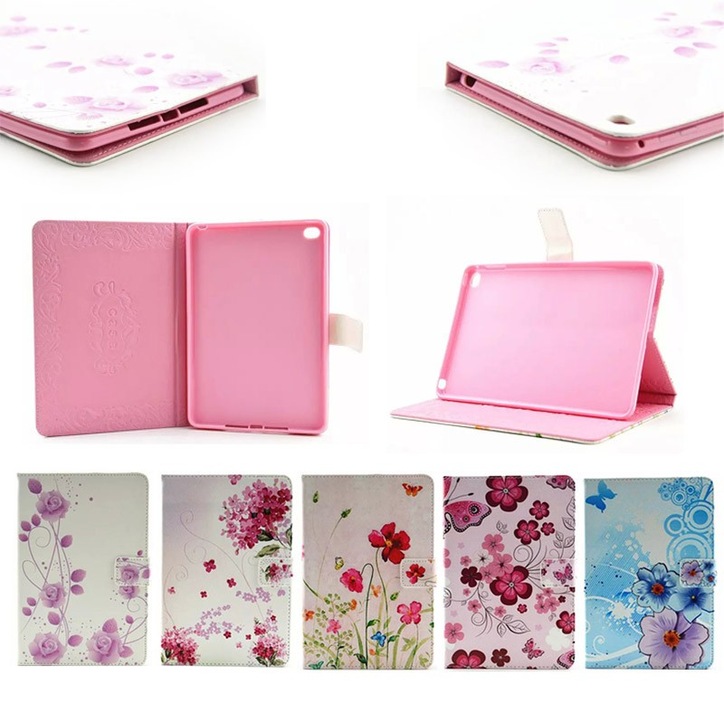 Beautiful Small Flower Soft Leather Case for iPad Mini 4, for apple ipad mini 4 leather cover with TPU case