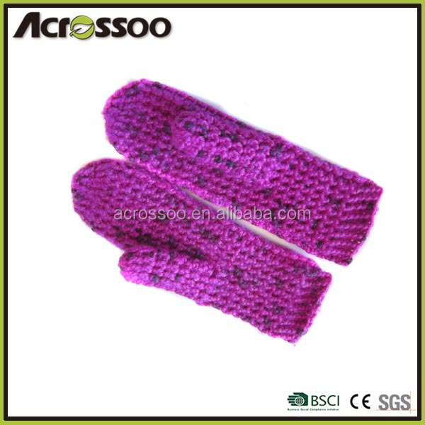 Mixed color long fingerless gloves/women winter thick acrylic knit mittens
