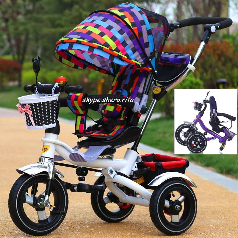 China factory promote Stainless steel frame folded kids pedal tricycle baby toys tricycle 3 in 1