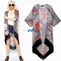Women Vintage Retro Exotic Style Tassels Loose Kimono Swallow-tailed Cardigan Coat