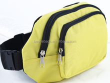 Outdoor running sport yellow waist bag with two zipper large waist belt bag