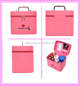 Red Lips Professional Beauty Box Makeup Travel Vanity Case With Mirror