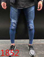 Mens Hole Jeans Slim Biker Casual Denim Skinny Pants Distressed Streetwear Hiphop Badge Male side zipper Ripped Trousers