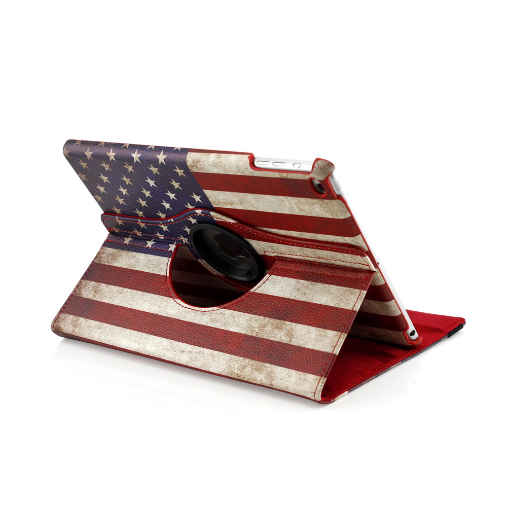 Best selling 360 degree rotation smart case cover,the national flag design pu leather for ipad Air/Air2 holder