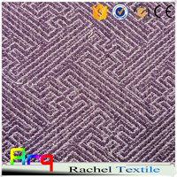 Purple newest maze design heavy linen cotton fabric luxury Star hotel natural curtain, bedspreads