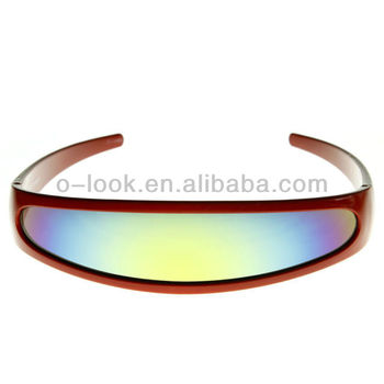 Futuristic Narrow Cyclops Color Mirrored Lens Visor Sunglasses