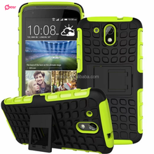 Wholesale phone cases Rubber oil paint PC TPU Hybrid case with kickstand for HTC desire 526