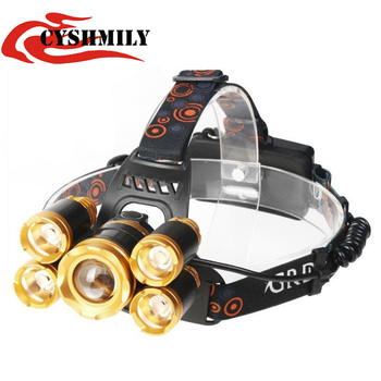 CYSHMILY New T6+4XPE 5 light source rechargeable super bright high power zoom 4 mode headlamp