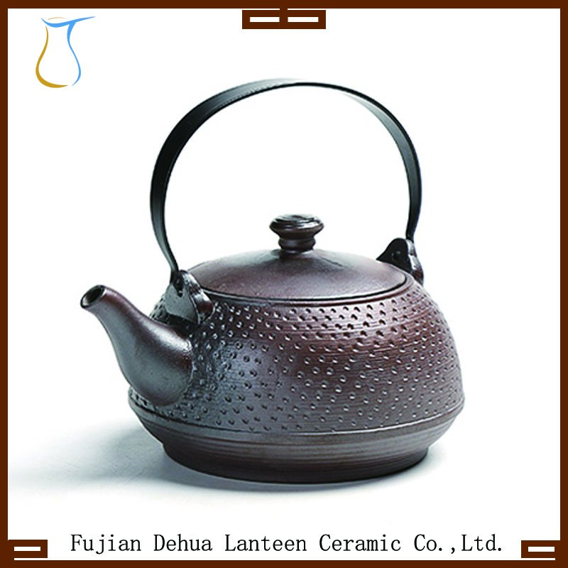 Black cast iron coloured glaze heat enamel resisting ceramic tea pot kettle