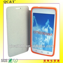 TPU+PU leather case For Alcatel one touch idol/OT6030/OT6030A/OT6030D