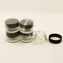 Pyrex 5ml round clear glass jar with plastic lid for dab wax oil vaporizer storage
