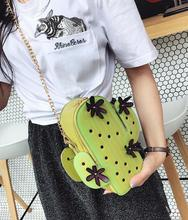 cute green cactus shape small desinger crossbody bag for women