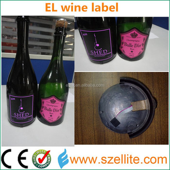 Creative thin flexible cool waterproof el wine bottle flashing label