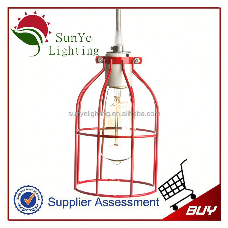 Vintage Iron Cage Edison bulb cage for 2x36w ip56 marine fluorescent pendant light fixture