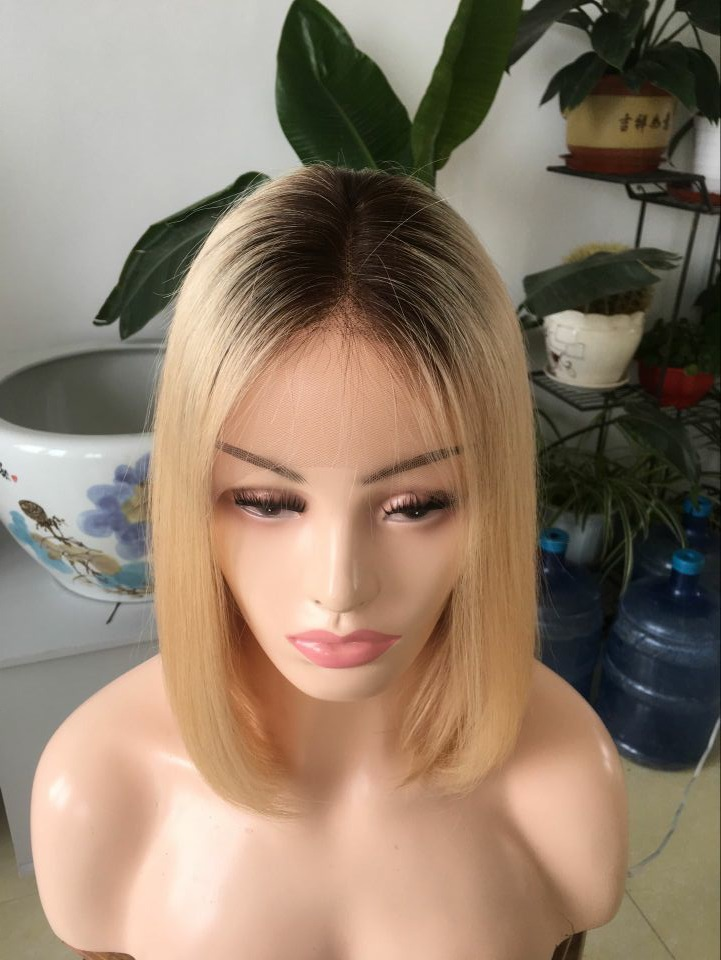 Ombre color blonde wig lace front wig brazilian human hair