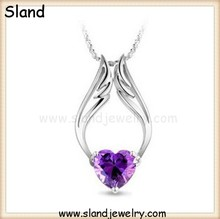 wholesale Pop trendy design 925 silver jewelry sterling silver necklaces with charms of angel wings and heart shape amethyst