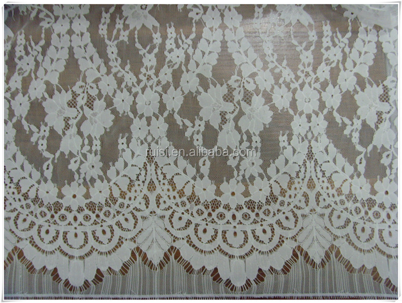 2017 white all over Plain Curtain Jacquard Lace Fabric