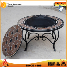 Garden Yard Charcoal Table Firepits With Tile Mosaic Table Pattern