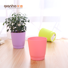 Chinese wholesale modern novelty cheap green mini small PP stackable planter different types plastic flower pot