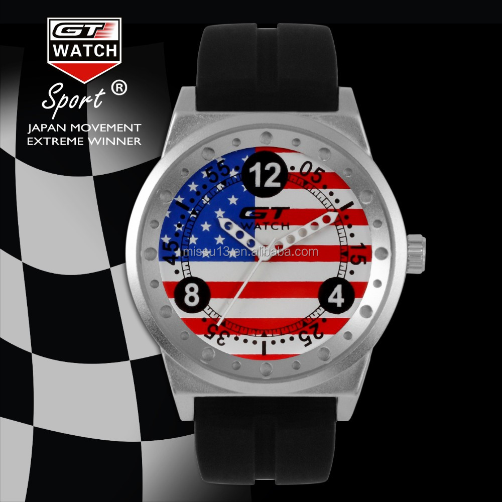 2017 new style amercia Italy France UK national flag silicone sports watch