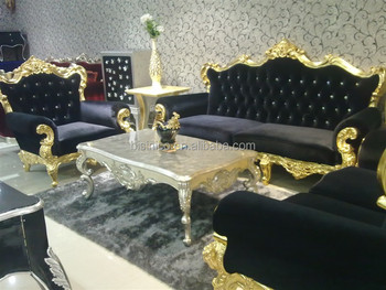 Luxury decorated living room wooden sofa set covered by lint in black color