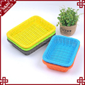 Custom plastic rattan woven food display basket colorful party decorative candy tray