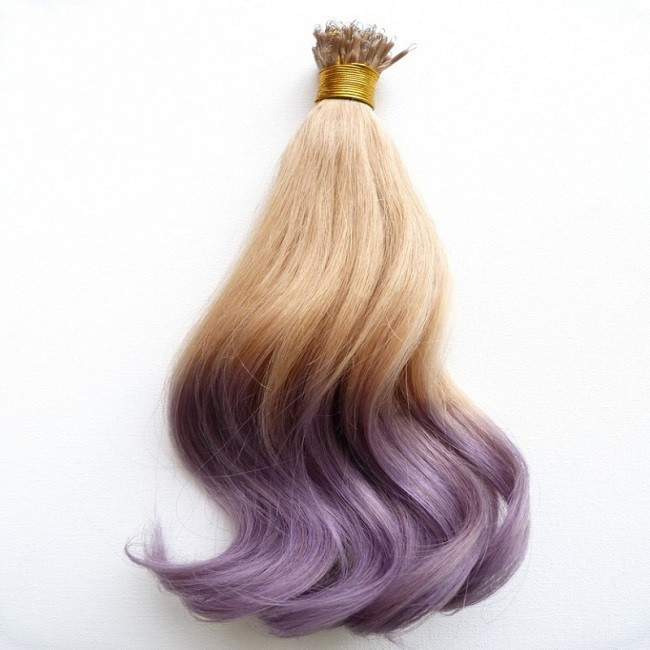 Best selling imports curly nano ring pre-bonded hair extension, 10a remy virgin brazilian wavy ombre purple human hair