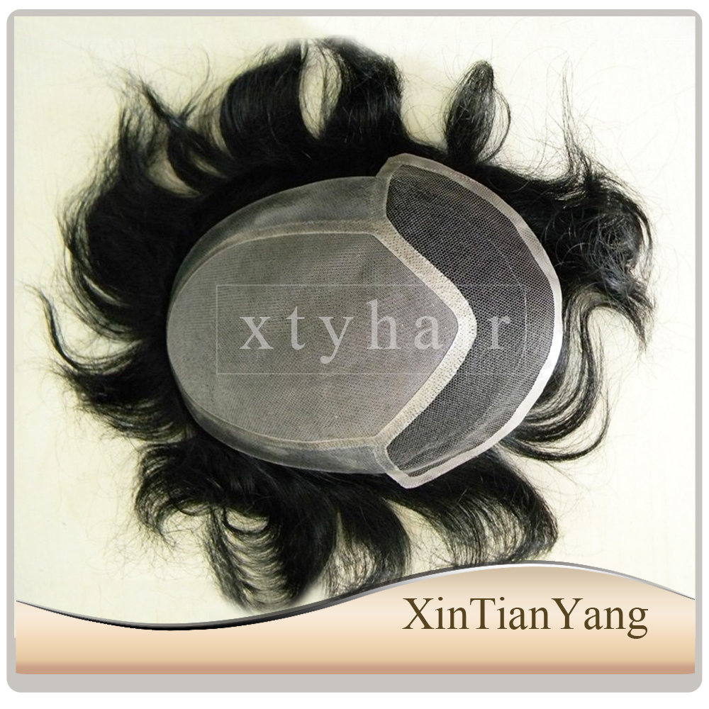 Alibaba express qingdao human hair toppers for men with front bleached knotes and natural hair line