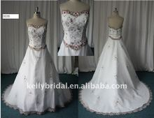 Nice Satin,Decolated with Applique,purple and white wedding dresses