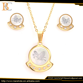 Best Seller Stainless Steel pendant butterfly Sets Jewelry Brand New Fine Jewelry 2017