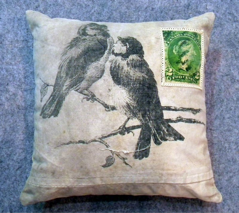 """LOVING BIRD"" Image Art Printed Recycled Cotton Fabric Cushion Cover - 40 Cm Square"