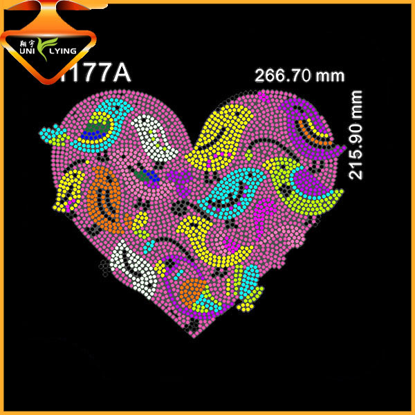 Bling Hot Fix Love Heart With Bird Rhinestone Transfer Motif T Shirt