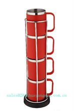 Huayang colorful 4 pcs branded coffee mug sets with steel stand