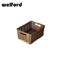 Folding square rattan wicker storage basket with lid
