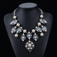 New Design Women Big Brand Pearl Necklace Fashion Accessories Luury Good Quality Resins Bib Chokers 9869