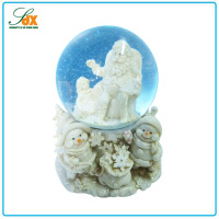 Special best sale large resin white Christmas snow globe glass snowball