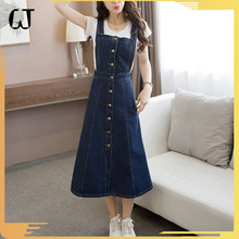 HV122#new arrivals supplier wholesale jean dress single-breasted slim overalls jumpsuits denim long skirt for women