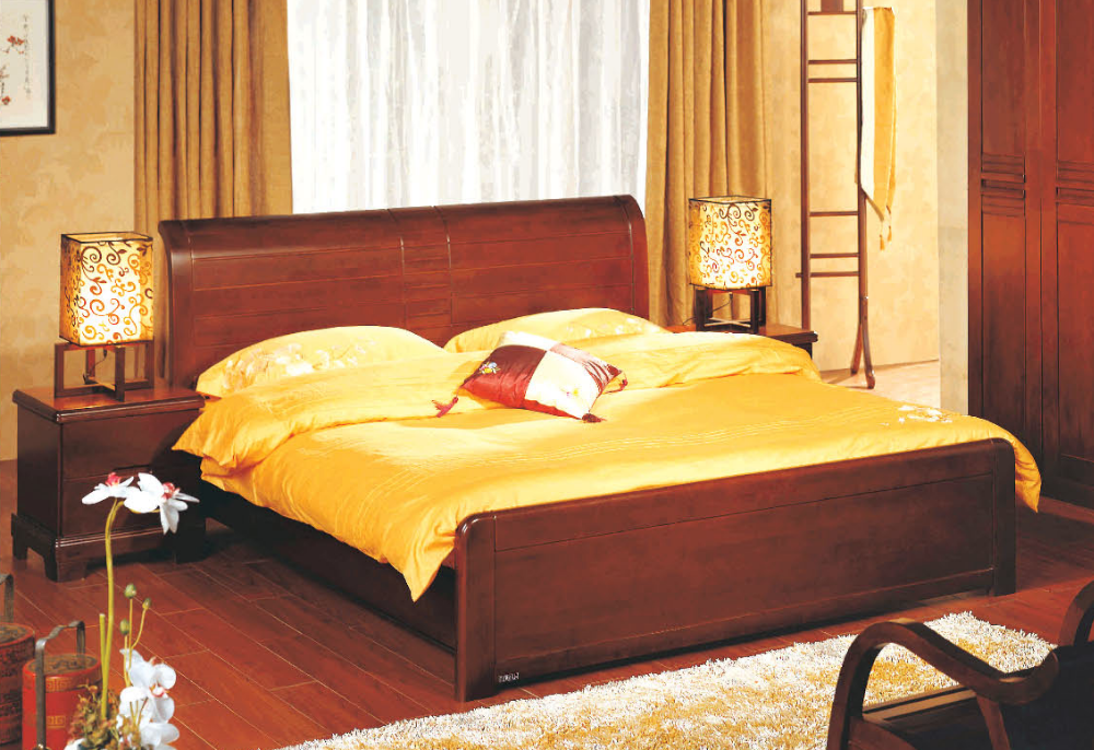 Modern Wooden bedroom Set, HIgh Qulaity Wood Bed in bedroom sets for Simple Design Hotel Project