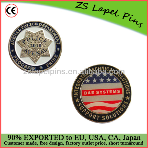 police trading coins silver finish coin